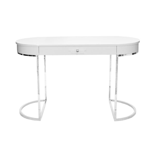Worlds Away Oval Desk with Nickel Base - White Lacquer