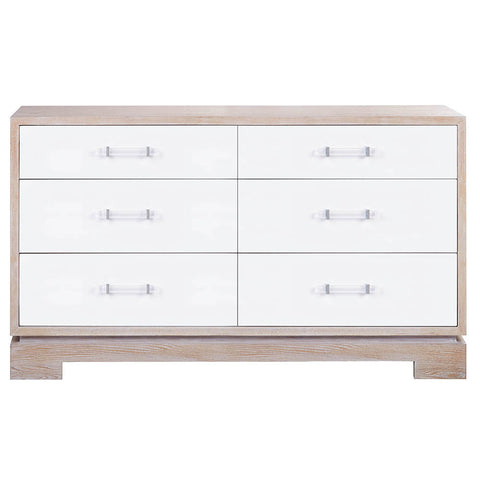 Worlds Away 6-Drawer Chest with White Lacquer Fronts – Cerused Oak