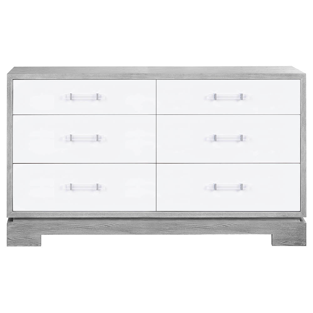 Worlds Away 6-Drawer Chest with White Lacquer Fronts   Grey Cerused Oak