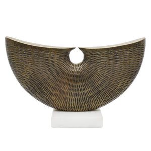 Worlds Away Cressa Hammered Metal Semicircle Sculpture on Marble Base – Antique Brass