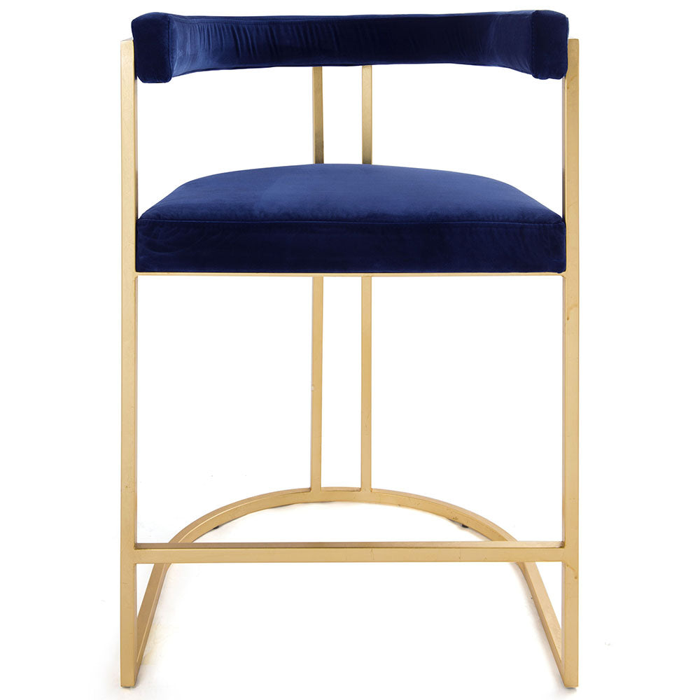Worlds Away Barrel Back Gold Leaf Frame Counter Stool – Navy Velvet
