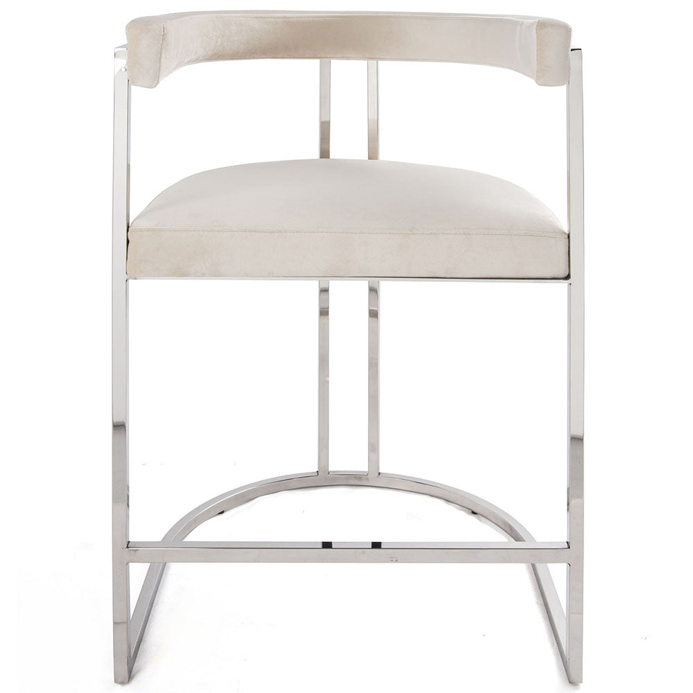 Worlds Away Barrel Back Nickel Frame Counter Stool – Cream Velvet