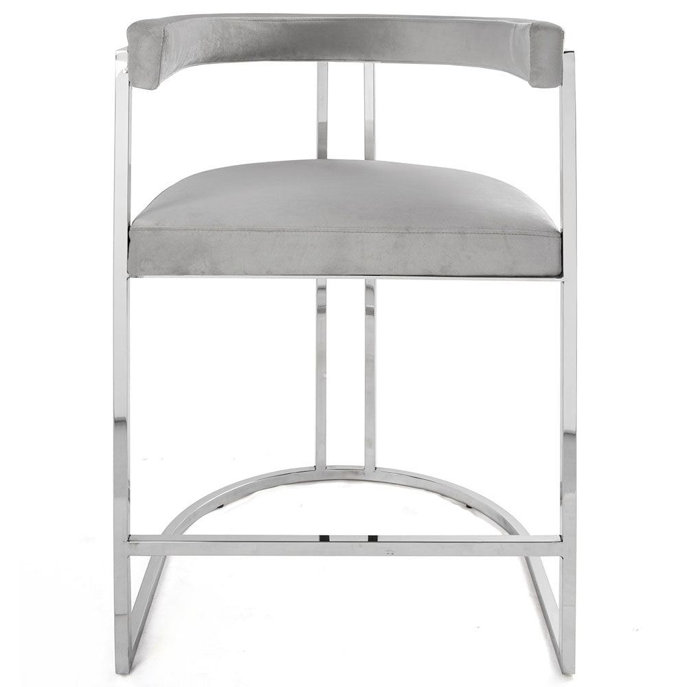 Worlds Away Barrel Back Nickel Frame Counter Stool – Grey Velvet