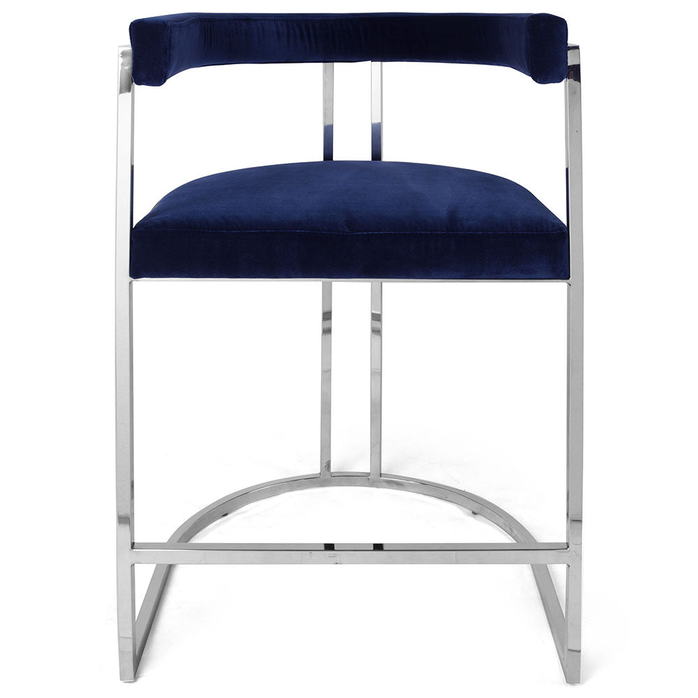 Worlds Away Barrel Back Nickel Frame Counter Stool – Navy Velvet