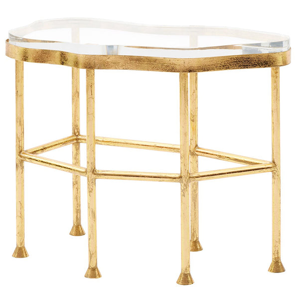 Bungalow 5 Glam Gold Leafed Side Table with Acrylic Top