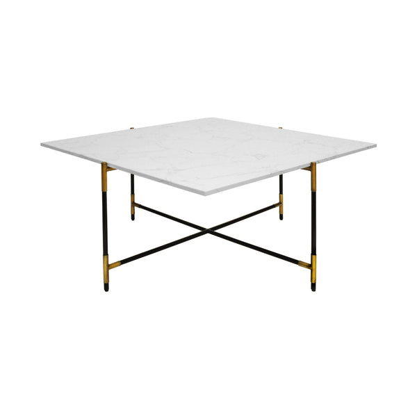 Worlds Away Square Coffee Table with Marble Top - Black & Brass Frame