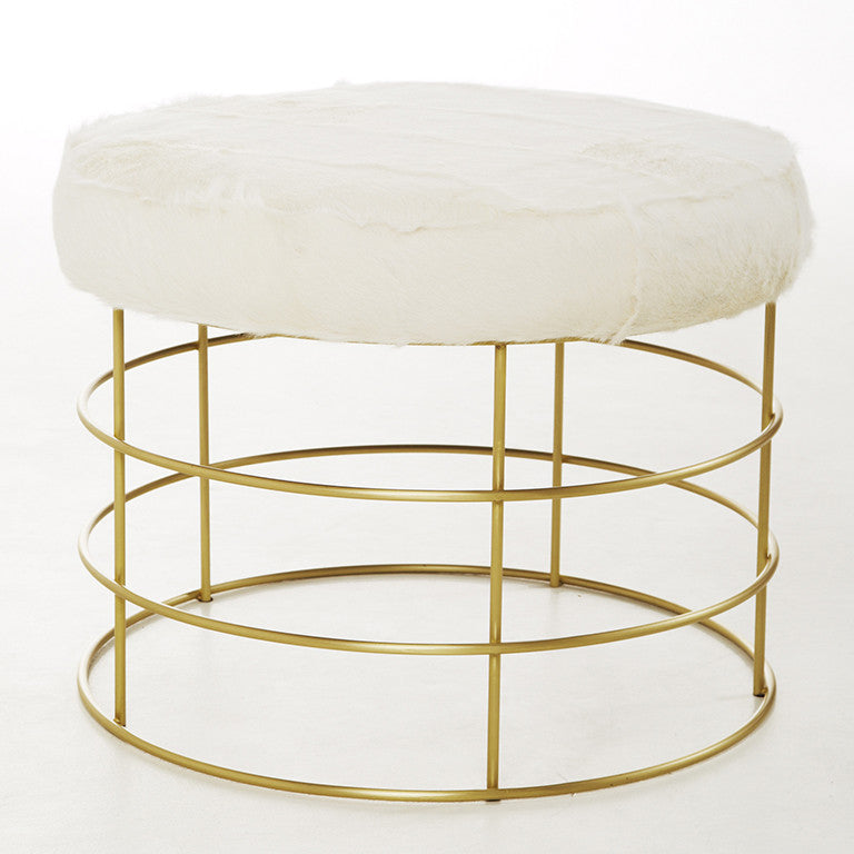 Cage Ottoman with White Fur Top