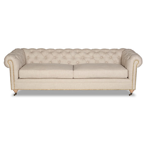 Chesterfield Tufted Sofa - Oat Linen (Other Colors Available)