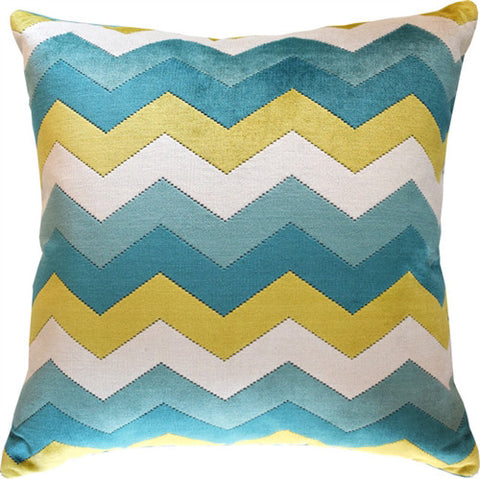 Chevron Pattern Pillow – Blue