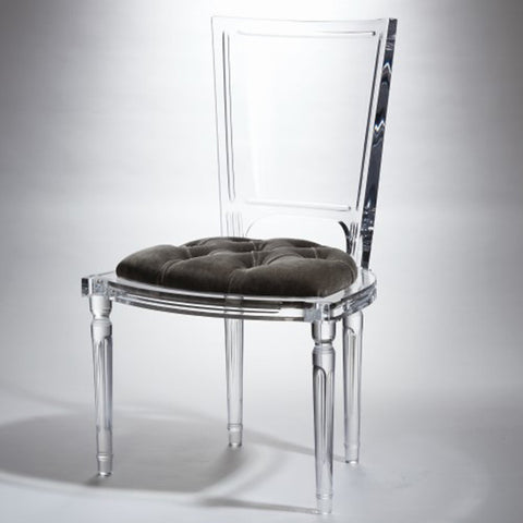 Clear Acrylic Side Chair - Pewter Mohair Cushion