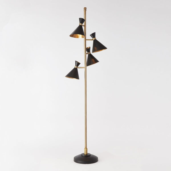 Multi Cone Floor Lamp - Black & Gold