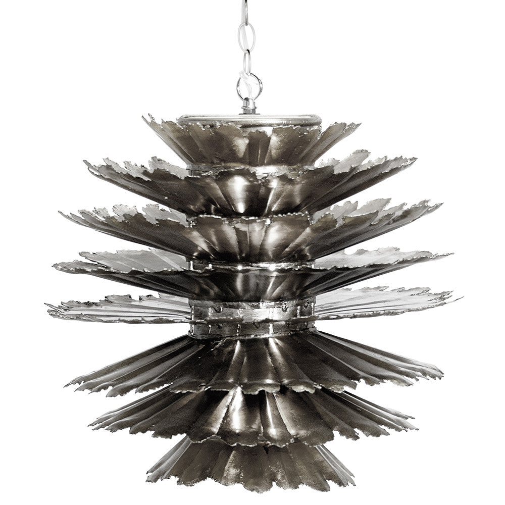 Worlds Away Iron Pinecone Pendant – Silver Leaf