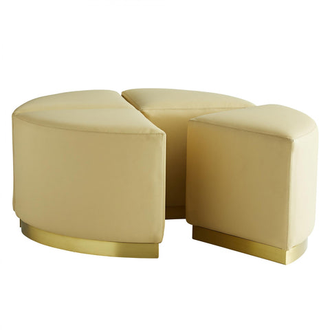 Arteriors Ecru Leather Wedge Ottomans – Set of 4