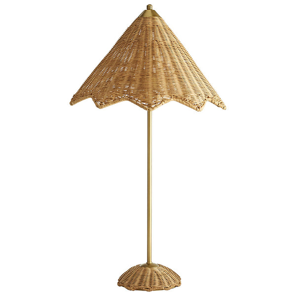 Arteriors Parasol Scalloped Rattan Table Lamp