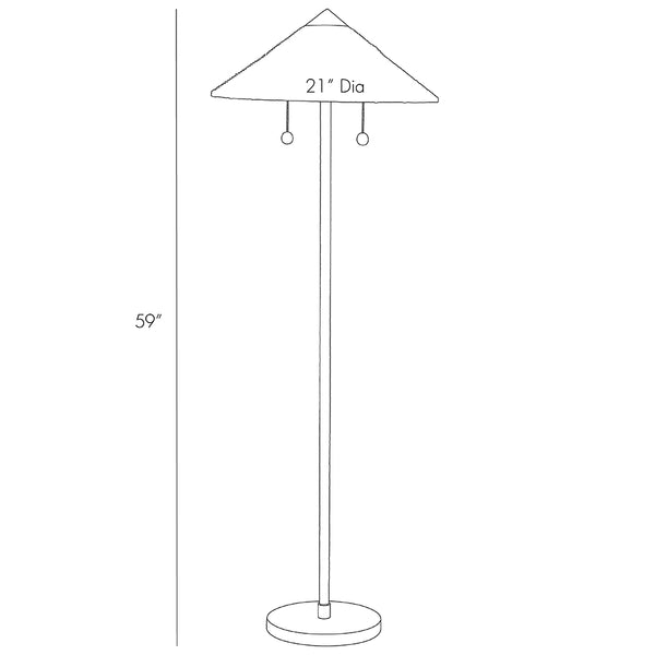 Arteriors Terrace Rattan Floor Lamp with Conical Shade