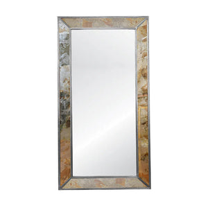 Worlds Away Dion Antiqued Floor Mirror - Silver Leafed Edging