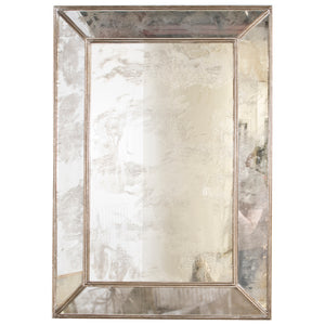 Worlds Away Rectangular Antique Mirror with Silver Leaf Edging