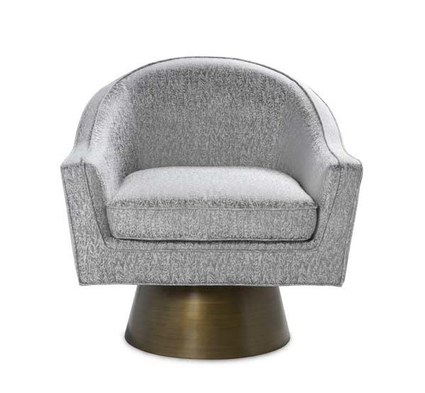 World's Away Modern Swivel Chair With Bronze Base