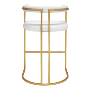 Worlds Away Barrel Back Gold Leaf Frame Bar Stool – White Vinyl