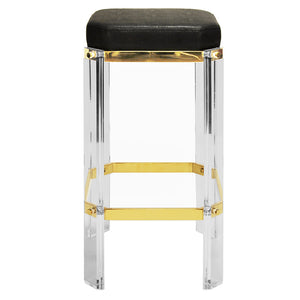 Worlds Away Glam Acrylic & Brass Counter Stool – Black Shagreen