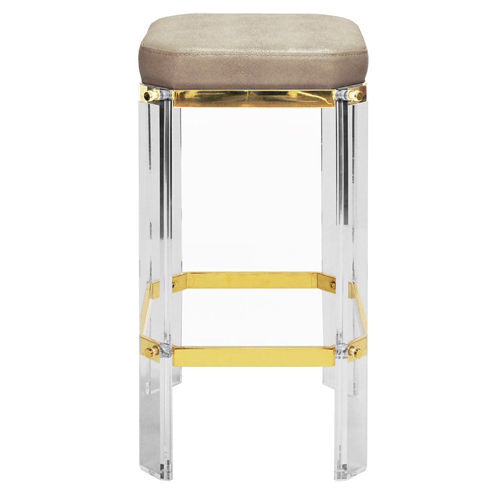 Worlds Away Glam Acrylic & Brass Counter Stool – Brown Shagreen