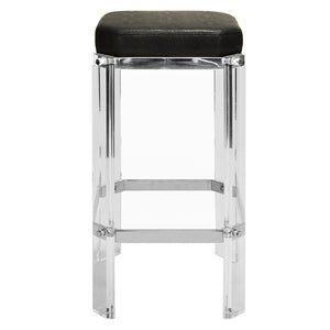 Worlds Away Glam Acrylic & Nickel Counter Stool – Black Shagreen