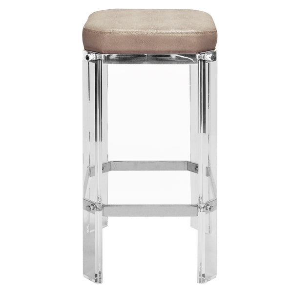 Worlds Away Glam Acrylic & Nickel Counter Stool – Brown Shagreen