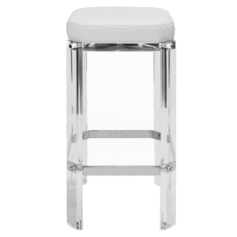 Worlds Away Glam Acrylic & Nickel Counter Stool – White Ostrich