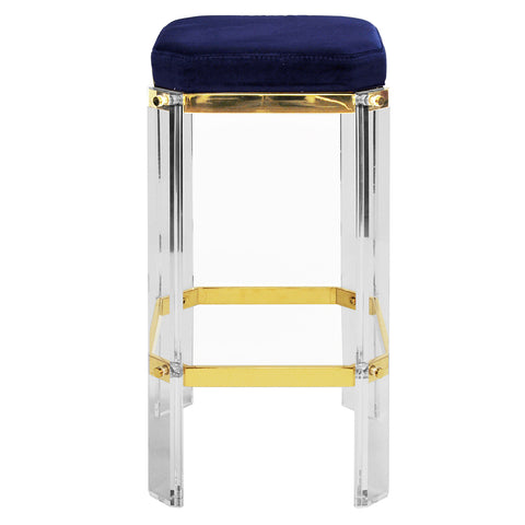 Worlds Away Glam Acrylic & Brass Counter Stool – Navy Velvet