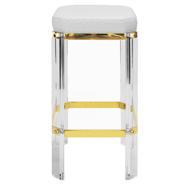 Worlds Away Glam Acrylic & Brass Counter Stool – White Ostrich