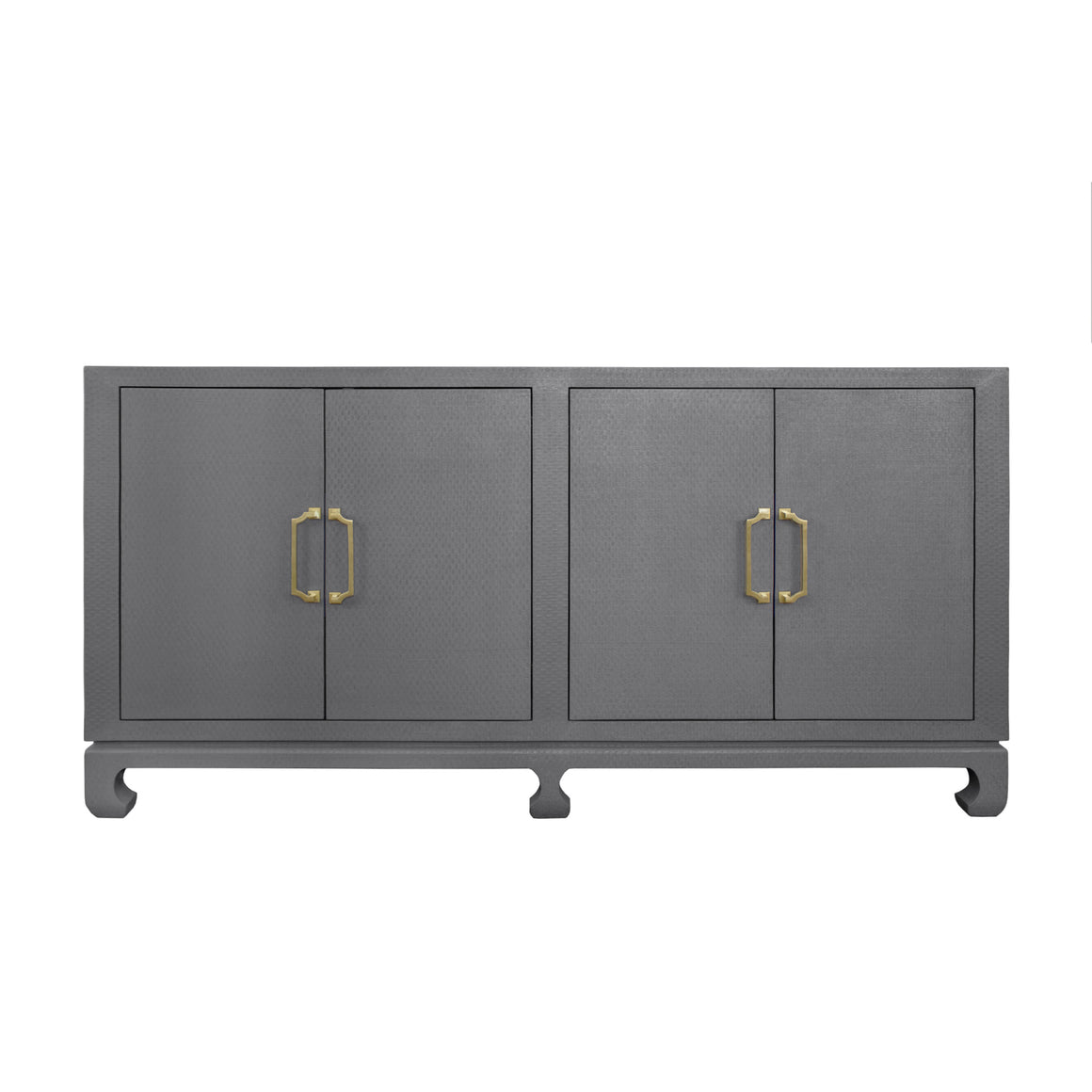 Worlds Away Drayton Four Door Buffet - Grey Grasscloth