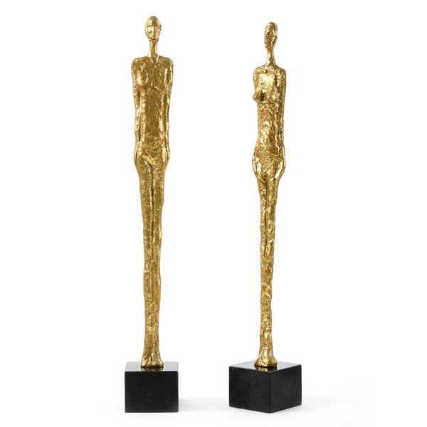 Bungalow 5 Cast Iron Figure Sculptures with Gold Leaf – Set of 2