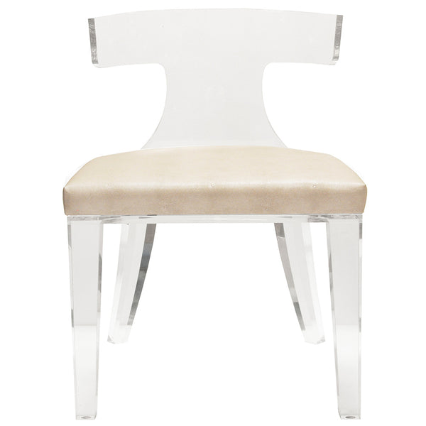 Worlds Away Acrylic Chair with Shagreen Cushion – Beige