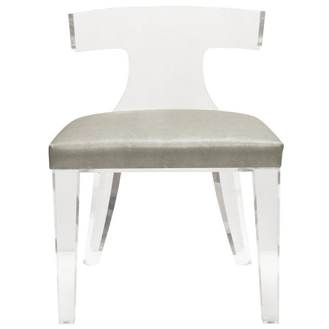 Worlds Away Acrylic Chair with Shagreen Cushion – Grey