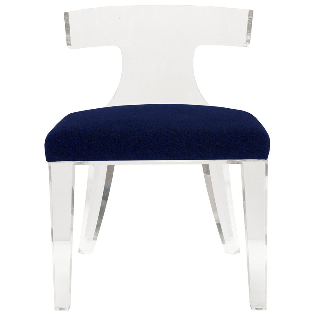 Worlds Away Acrylic Chair with Velvet Cushion – Navy