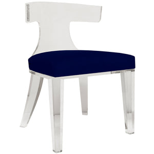 Worlds Away Acrylic Chair with Velvet Cushion - Navy