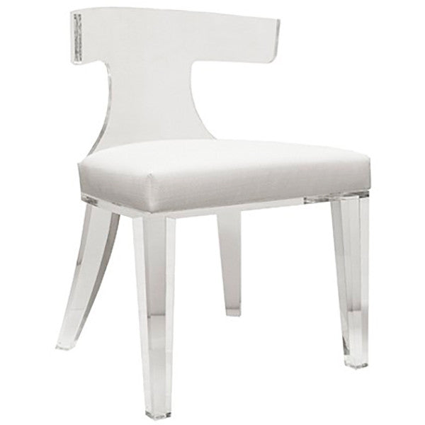 Worlds Away Acrylic Chair with Linen Cushion – White