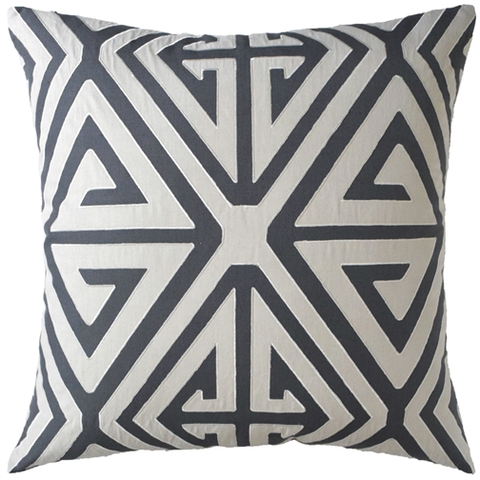 Diamond Fretwork Pillow – Grey
