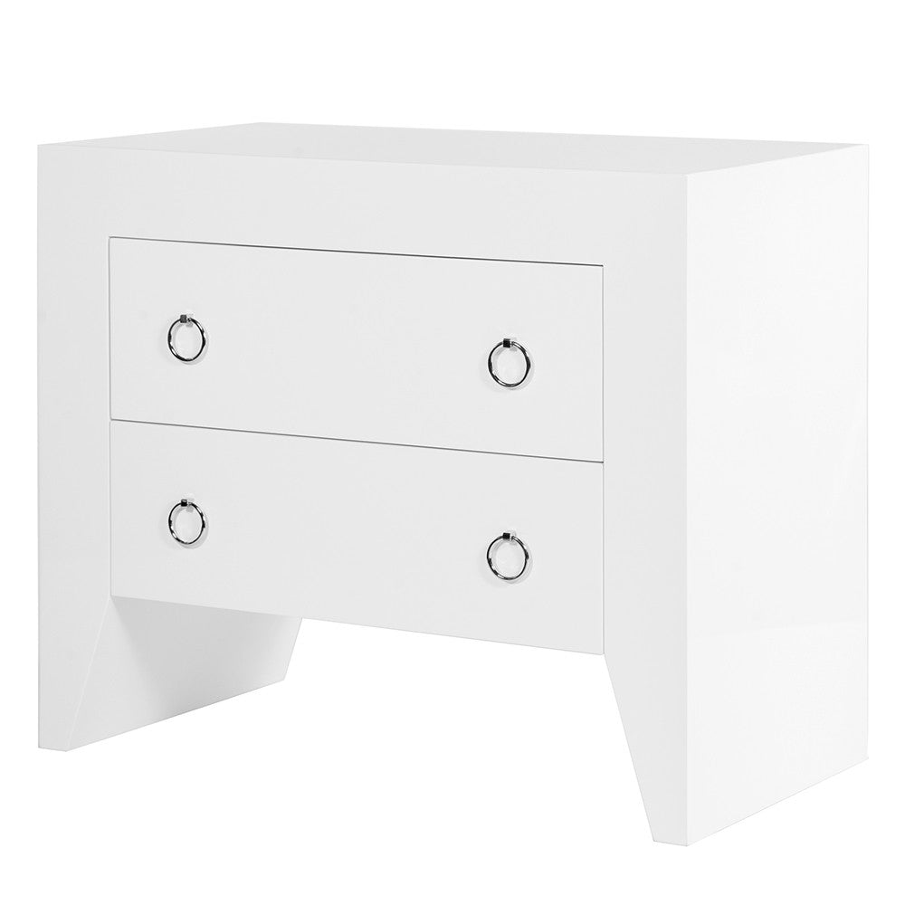 Worlds Away Angular White Lacquer Nightstand U2013 Nickel Hardware
