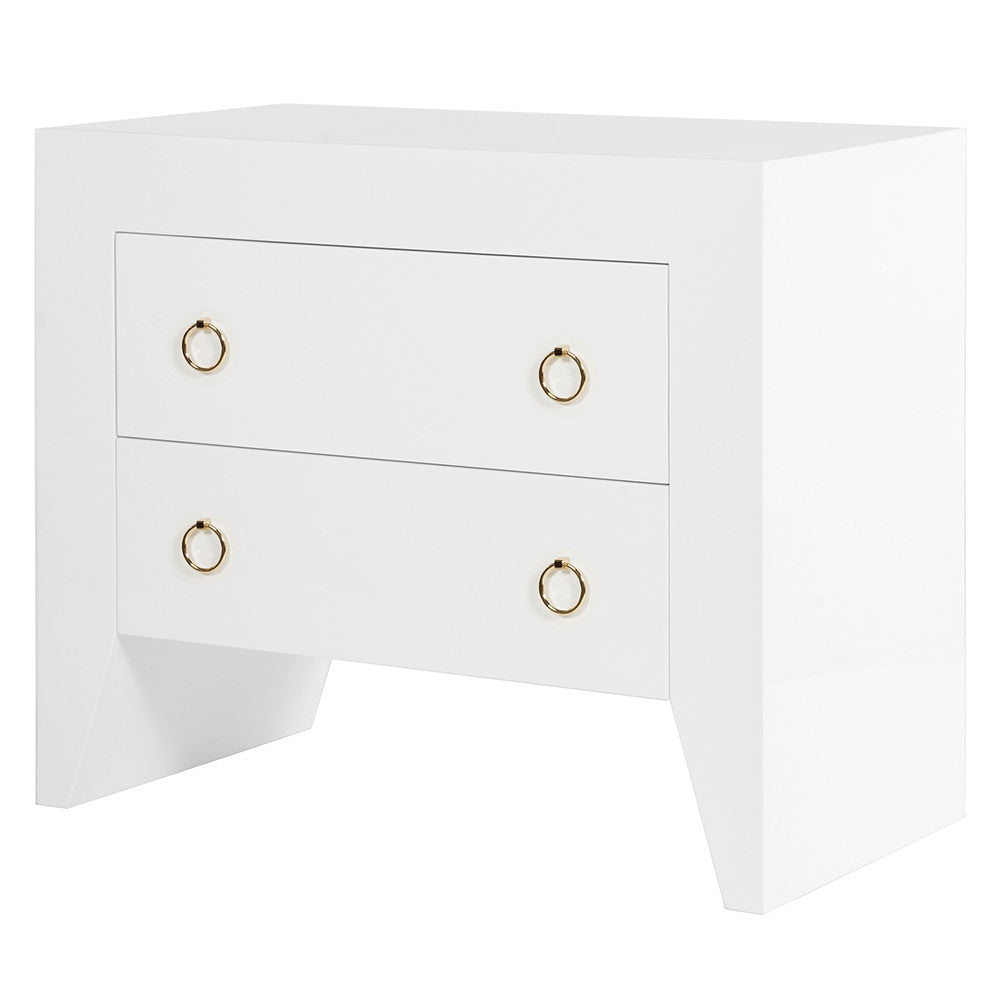 Worlds Away Angular White Lacquer Nightstand U2013 Brass Hardware