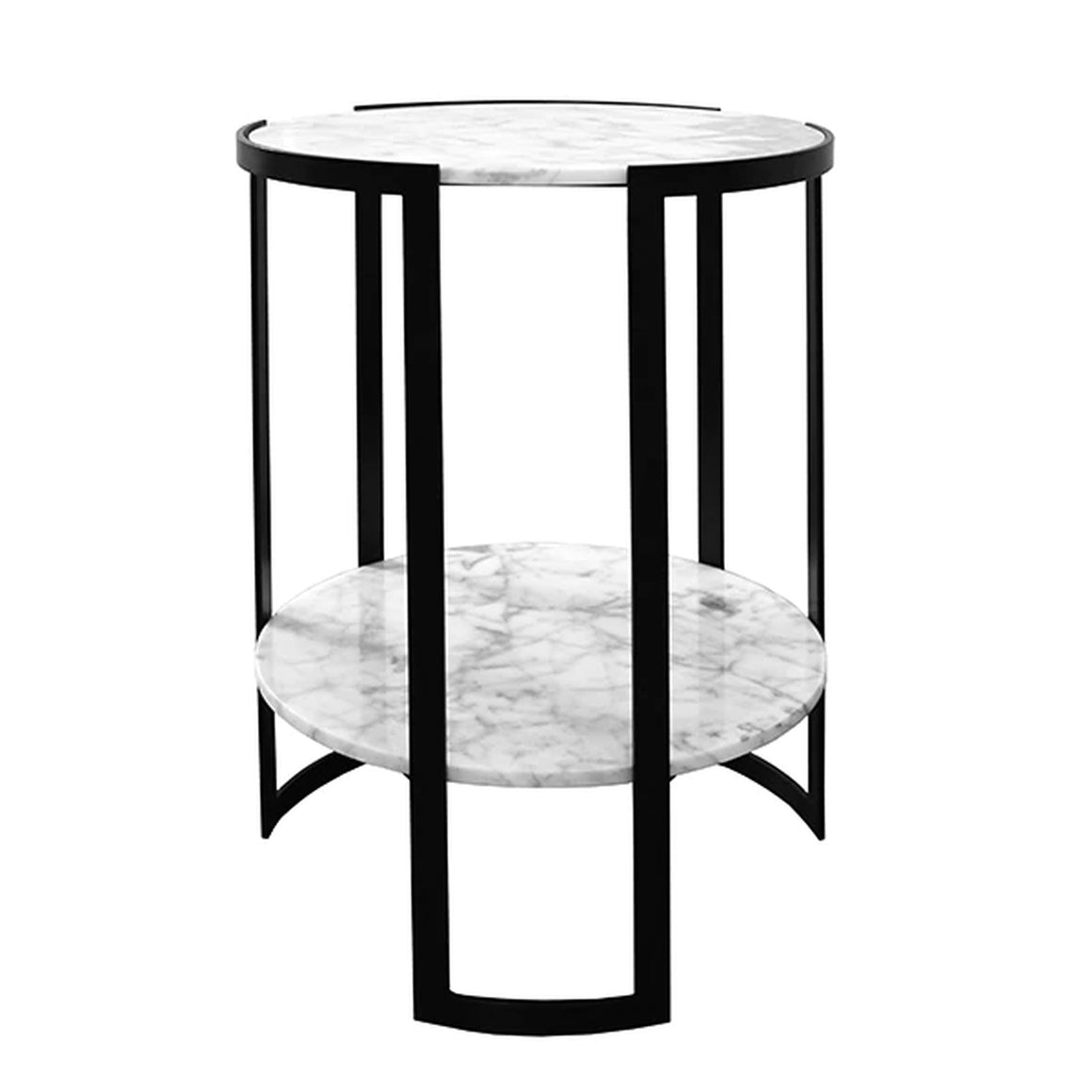 Worlds Away Round Marble Top Side Table - Black