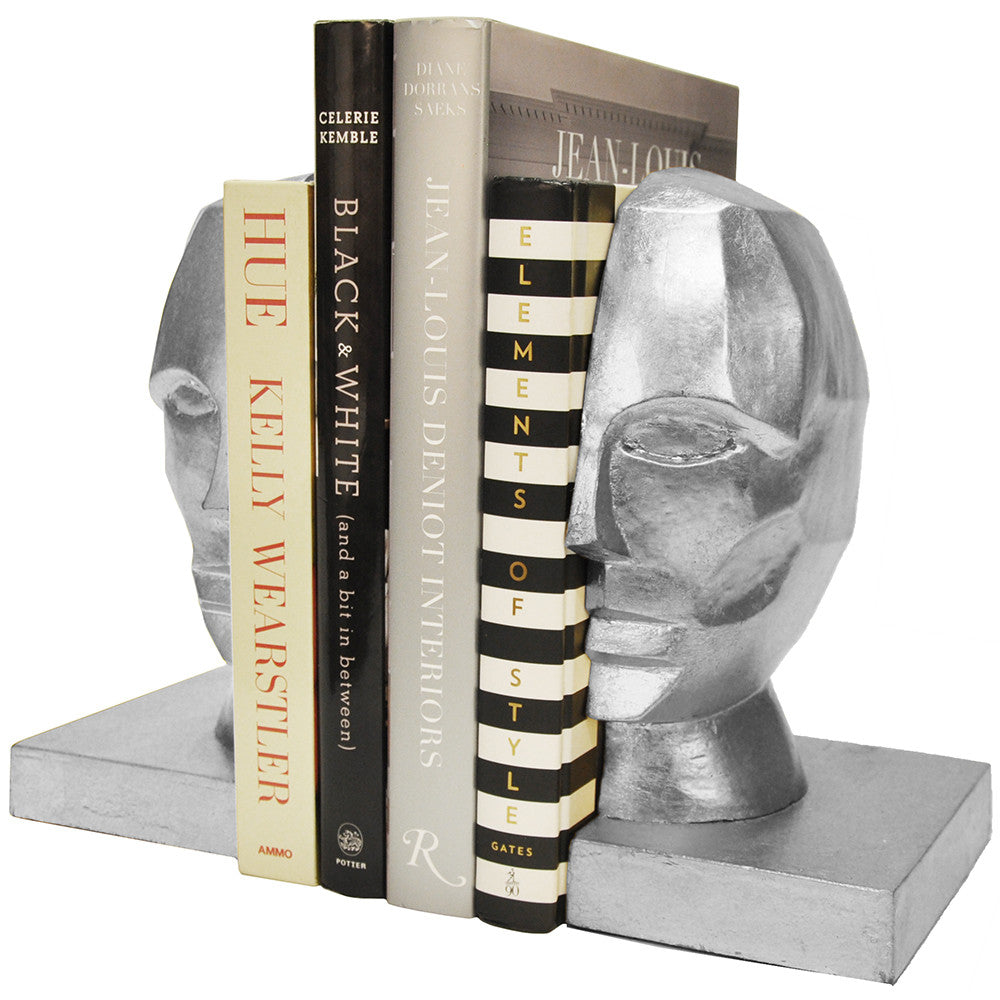 Worlds Away Modern Metallic Bookends – Silver