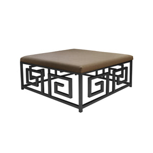 Worlds Away Eileen Greek Key Square Linen Ottoman - Black