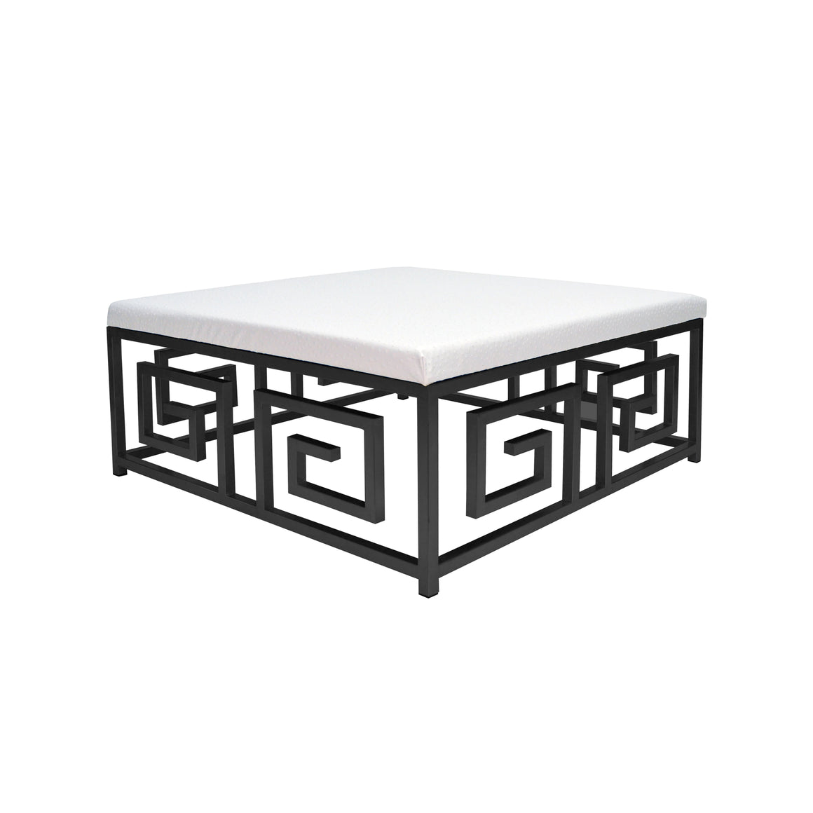 Worlds Away Eileen Greek Key Square White Ostrich Ottoman - Black