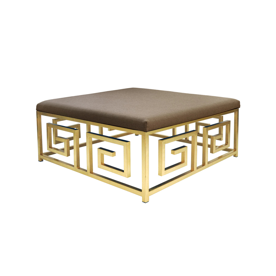 Worlds Away Eileen Greek Key Square Linen Ottoman - Gold Leaf