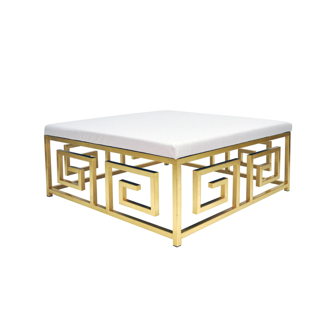 Worlds Away Eileen Greek Key Square White Ostrich Ottoman - Gold Leaf