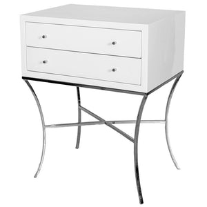 Worlds Away Lacquered Wood & Nickel Side Table – White