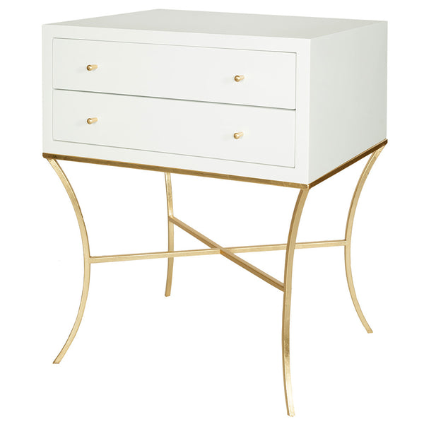 Worlds Away Lacquered Wood & Gold Leaf Side Table – White