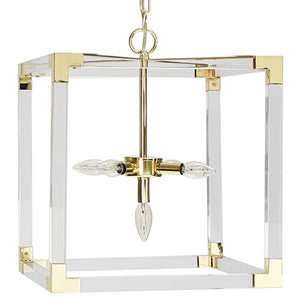 Worlds Away Square Acrylic 5-Light Pendant – Brass