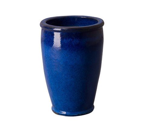 Small Round Ceramic Planter - Cobalt Blue